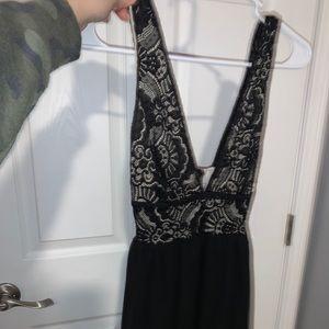 Low cut lace black chiffon dress